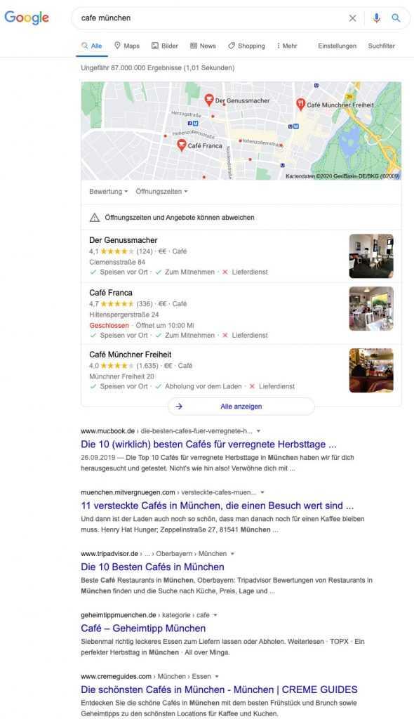 Suchergebnisseite der Suchanfrage Cafe München