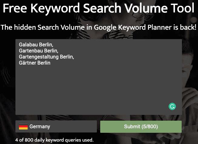 Eingabemaske von searchvolume.io